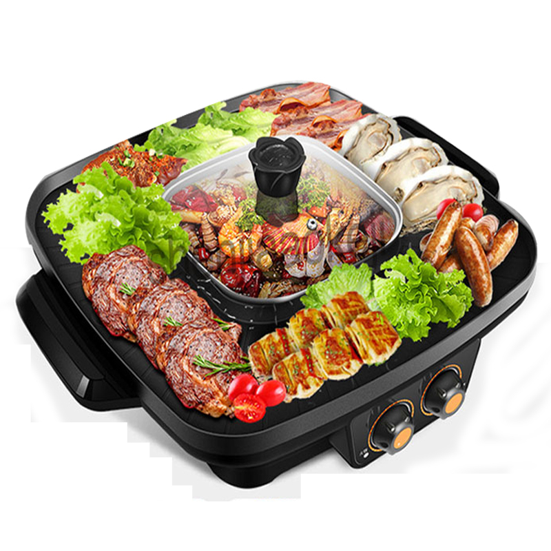 Commercial Hot Pot + Barbecue One-piece Pot Smokeless Electric Barbecue Machine Multi-function Roasting Pot Kitchen Supplies 1pc