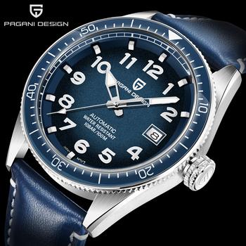 PAGANI DESIGN męski zegarek japonia Seiko-NH35A ruch mechaniczny zegarek na rękę automatyczny zegarek męski stal 316L wodoodporny 100M zegar tanie i dobre opinie Skórzany pasek 10Bar CN (pochodzenie) STAINLESS STEEL Mechaniczna nakręcana wskazówka 24cm Luxury ru ROUND Papier 22mm