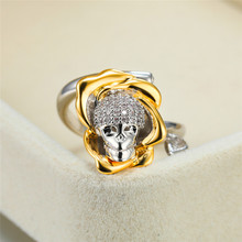 Gothic Female White Crystal Stone Ring Steampunk Gold Silver Gift Rings For Women Unique Zircon Skull Flower Party Ring chic faux crystal skull bracelet with ring for women