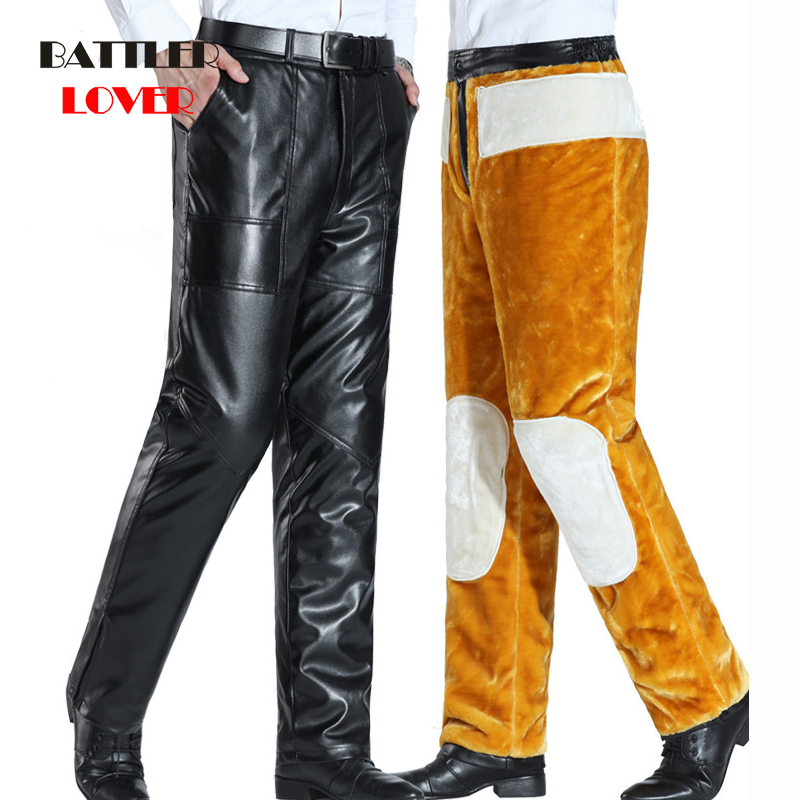 -35 Degree Men Leather Pants Winter Fleece Warm Pant Fashion Men Slim Leather Trousers High Elastic Mans Motorcycle Pants Street