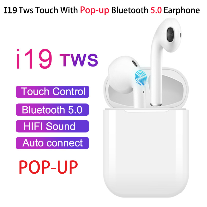 I19 TWS Wireless Earphone Bluetooth 5.0 Headset 1:1 With Charging Case Earbuds For Mobile Phone With Good Chip Pk I12 I16 I20