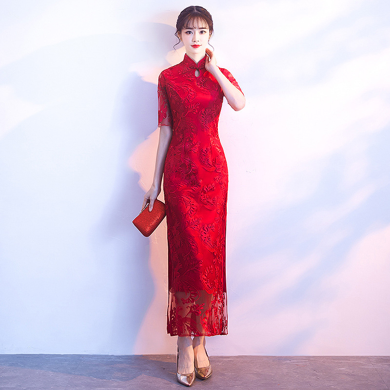 Chinese-Traditional-Red-Lady-Cheongsam-Elegant-Woman-Slim-Long-Qipao-Large-Size-3XL-Vintage-Embroidery-Floral