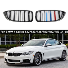 Pair Front Kidney Sport Grille Racing Grill Double Slat For BMW F32 F33 F36 F82 420i 428i 435i M4 2014-2018 Gloss Black M Color 2pcs set double slat kidney grille front bumper racing grill for bmw 4 series f32 f33 f36 420i 428i 435i m4 2014 2016