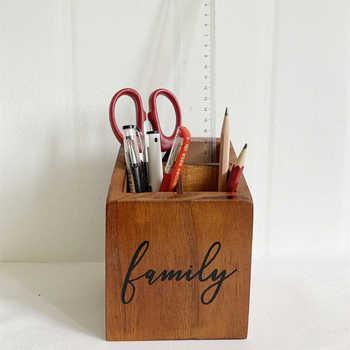 Natural solid wood, desk pen holder, office, home, personal studio, rustic retro brown four-grid pen holder - DISCOUNT ITEM  30 OFF Home & Garden
