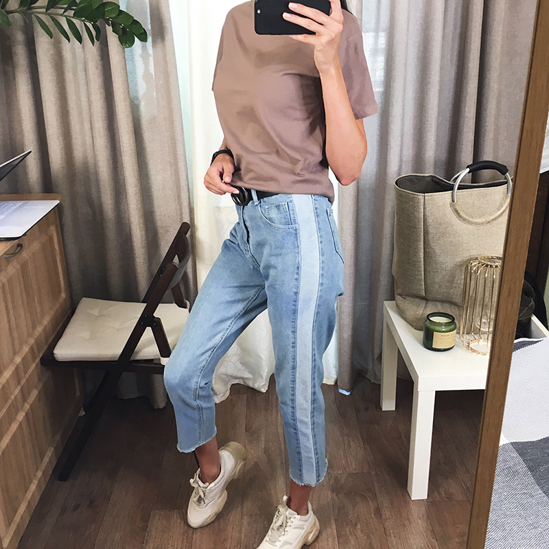 BIVIGAOS 19 New Spring Autumn Womens Cropped Jeans Korean Side Stitching Washed Denim Straight Pants Boyfriend Jeans For Women 3
