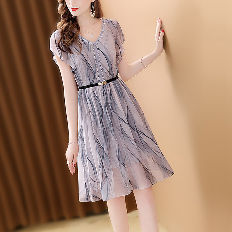 Only Plus Women Holiday Beach Short Dress Chiffon Gradient Color Fashion Slim High Waist Short Sleeve Sashes Summer Mini Dresses