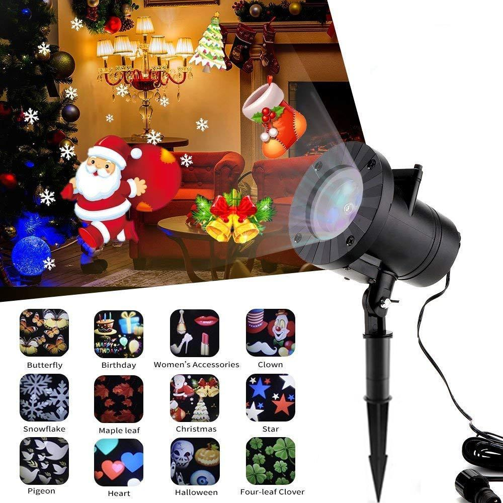 Xmas LED Voice Control Stage light Full Snowflakes Projector Light with 12 Slides for Outdoor Christmas Wedding Landscape Lawn