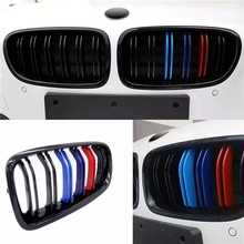 цена на 1 Pair Car Kidney Grill Racing Grille M Color Double Line Gloss/Matte Black For BMW F10 F11 F18 5 Series M5 Gloss 2011-2017