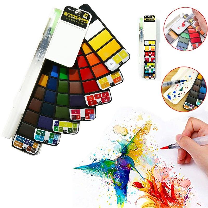 Улучшенный твердый телефон, 18/25/33/42 цветов, складной пигмент для путешествий с кисточкой для воды, товары для студентов