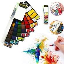 Conjunto de pintura contínua superior da aguarela 18/25/33/42 cores pigmento dobrável da pintura do curso com água escova caneta estudantes suprimentos