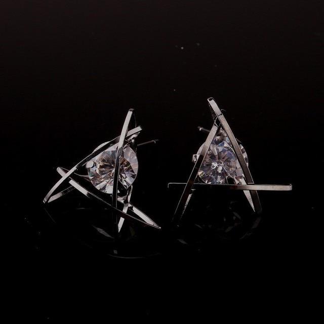 Σκουλαρίκια Γεωμετρίας με Λευκό ζιργκόν