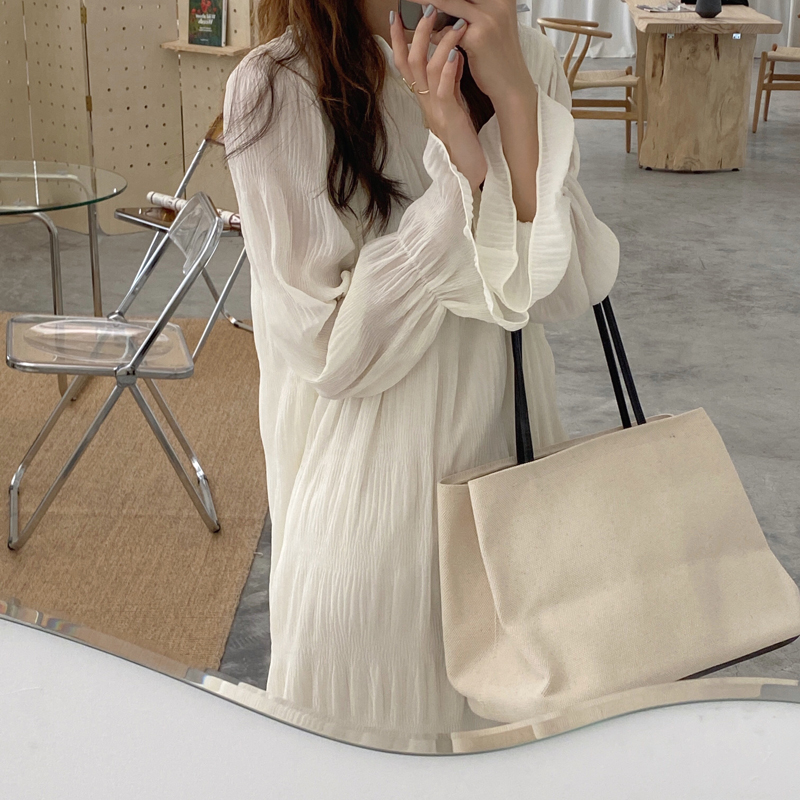 H2e5dd00891bd4356924d6cbe5ba835e9I - Autumn Korean O-Neck Flare Long Sleeves Chiffon Pleated Midi Dress