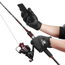 цена на Men Women Fishing Gloves 2 Cut Fingers Flexible Winter Fishing Gloves 2 Half-Finger Palm Anti-Slip Waterproof Hunting Glove