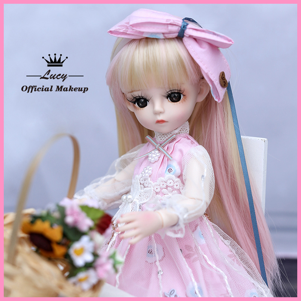 UCanaan BJD Doll 1/6 SD Doll 18 Ball Jointed Dolls With Full Outfits Dress Wig Headdress Shoes Makeup Girls DIY Dress UP Toys 8