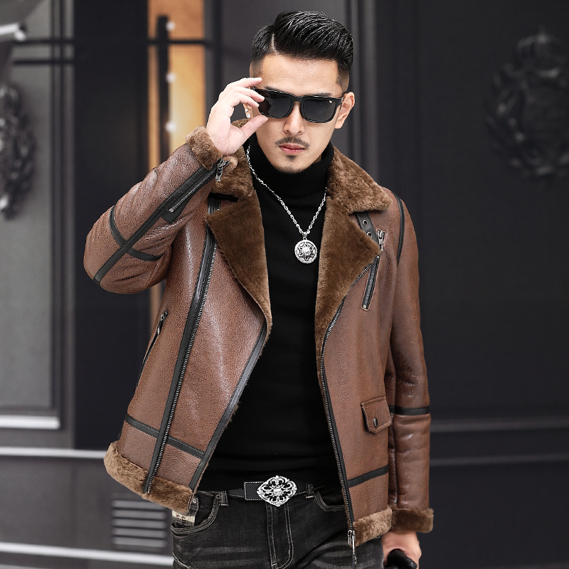 2019 Winter New Original Fur One Leather Men's Suit Jacket Leather Jacket