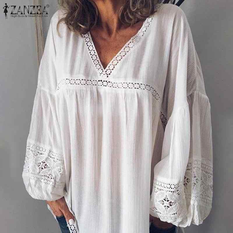 2020 ZANZEA אלגנטי V צוואר פאף שרוול תחרה חולצה נשים קיץ לבן חולצות בתוספת גודל טלאים טוניקת חולצות Blusas Mujer תחתונית