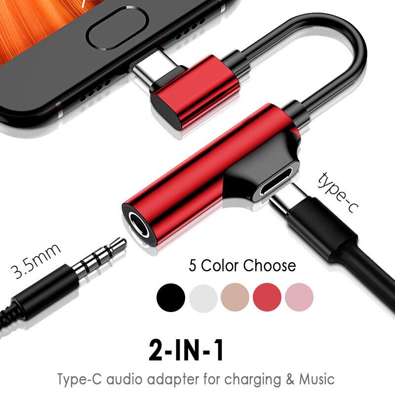 Переходник с разъемом Type-C на 3,5 мм для наушников 2-в-1, наушники, Адаптируемые для Huawei P20 Lite Mate 20, аудио зарядное устройство, Диспенсер, аксессуа...