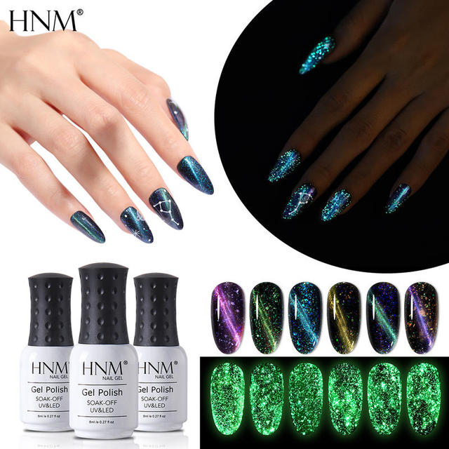 HNM 8ML Fluorescent 3D Cat Eye Gel Nail Polish UV LED Soak Off Fluorescent Varnish Primer Long Lasting Glow In Dark Gel Polish 1