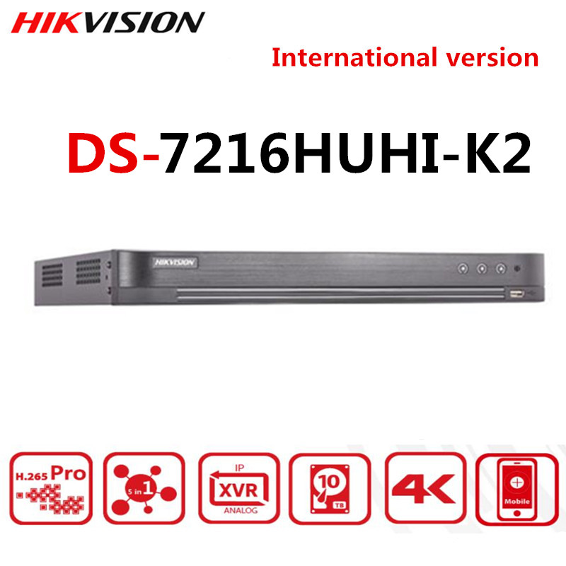 Hikvision 16CH 5 In 1 AHD DVR DS-7216HUHI-K2 Support CVBS TVI CVI AHD Analog IP Cameras P2P Cloud H.265 HDMI video recorder