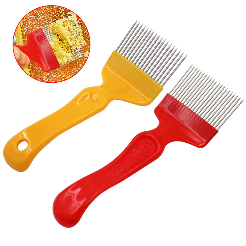 Beekeeping Tools 21 Pin Bee Honey Forks Straight Needles Uncapping Forks Handle Stainless Steel Honey Sparse Rake Shovel Comb