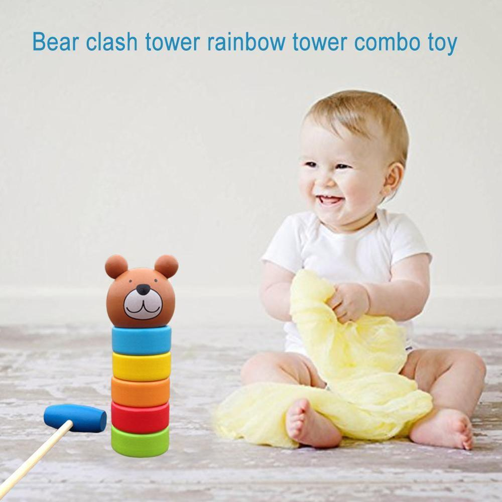 Bear Clash Tower Rainbow Combo Toy 1 Set Wooden Crap Two-in-one For Children Pile Early education