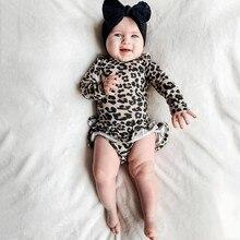 Леопарда ребенка комбинезон мода Детская одежда девочка комбинезон с длинным рукавом рюшами новорожденный одежда младенческой одежда комбинезон девочки 2Г