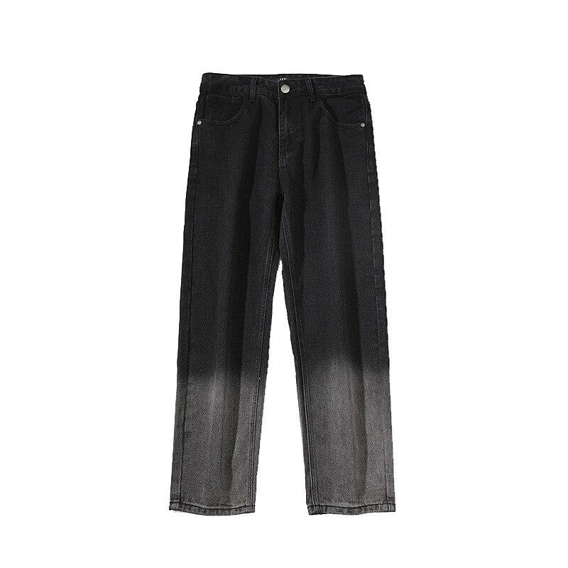 Men Straight Jeans Summer Autumn Streetwear Loose Casual Cotton Gradient Ankle Length Mens Pants Denim Trousers Plus Size