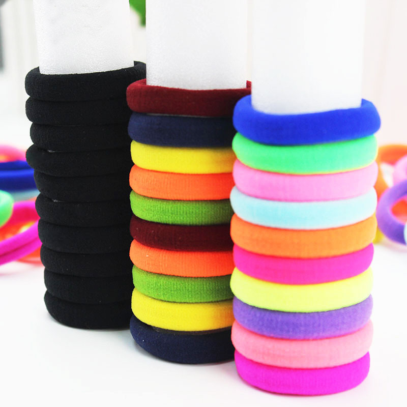 New 10PCS/Pack Elasticity Hair Rope Korean Black Round High Quality Seamless  Colors Drop Shipping Candy Color Hot Sale