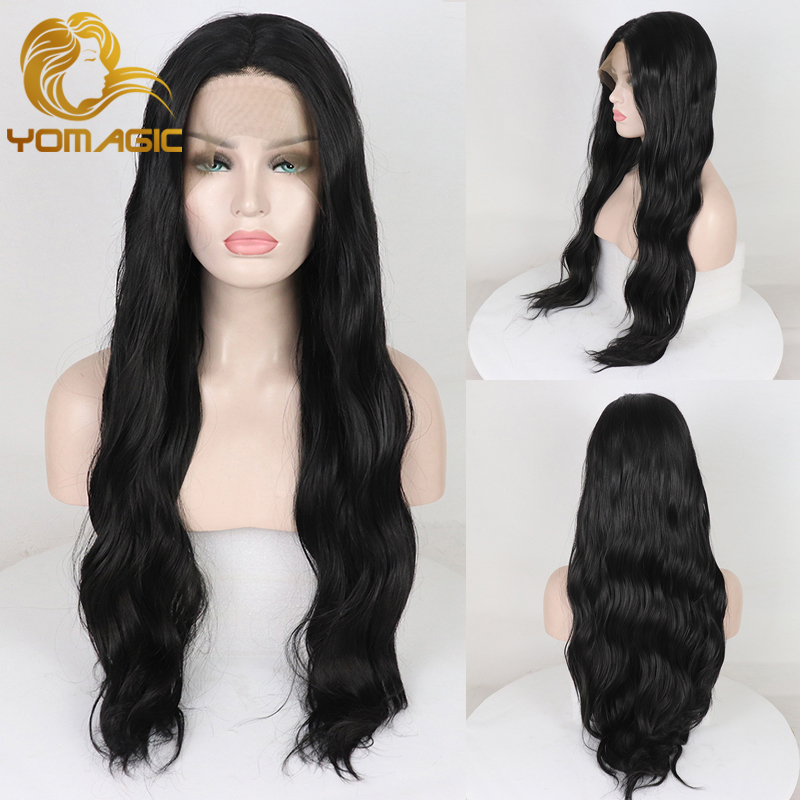 Yomagic Synthetic Hair Lace Front Wigs With Baby Hair Soft Black  Wave Glueless Lace Wigs with Natural Hairline