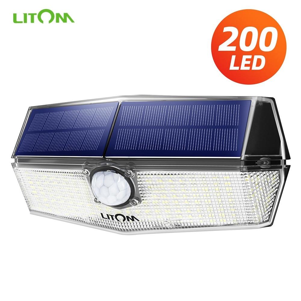 Upgraded LITOM 200 LED Solar Light IPX7 Waterproof Motion Sensor Wall Light 3 Adjustable Modes&270 Degree Wide Angle Garden Lamp