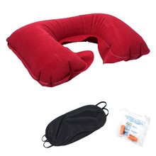 Outdoor Camping Pillow Tourism Flocking Inflatable U-shaped Pillow Car Travel Soundproof Earplug Shading Eye Mask Three-pieceSet