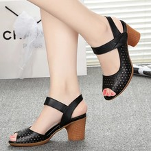 2021 Newest Girls Black Pu Shoes Med Peep Toe Hollow Woman Sandals Breathable Elastic Force Women Summer Sandals
