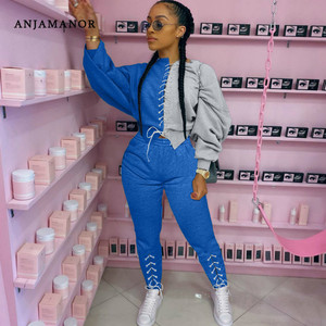 ANJAMANOR Color Block Sporty Two Piece Set Jogger Tracksuit Lace Up Hoodie and Pants Sweatsuits for Women Matching Sets D29-DG57