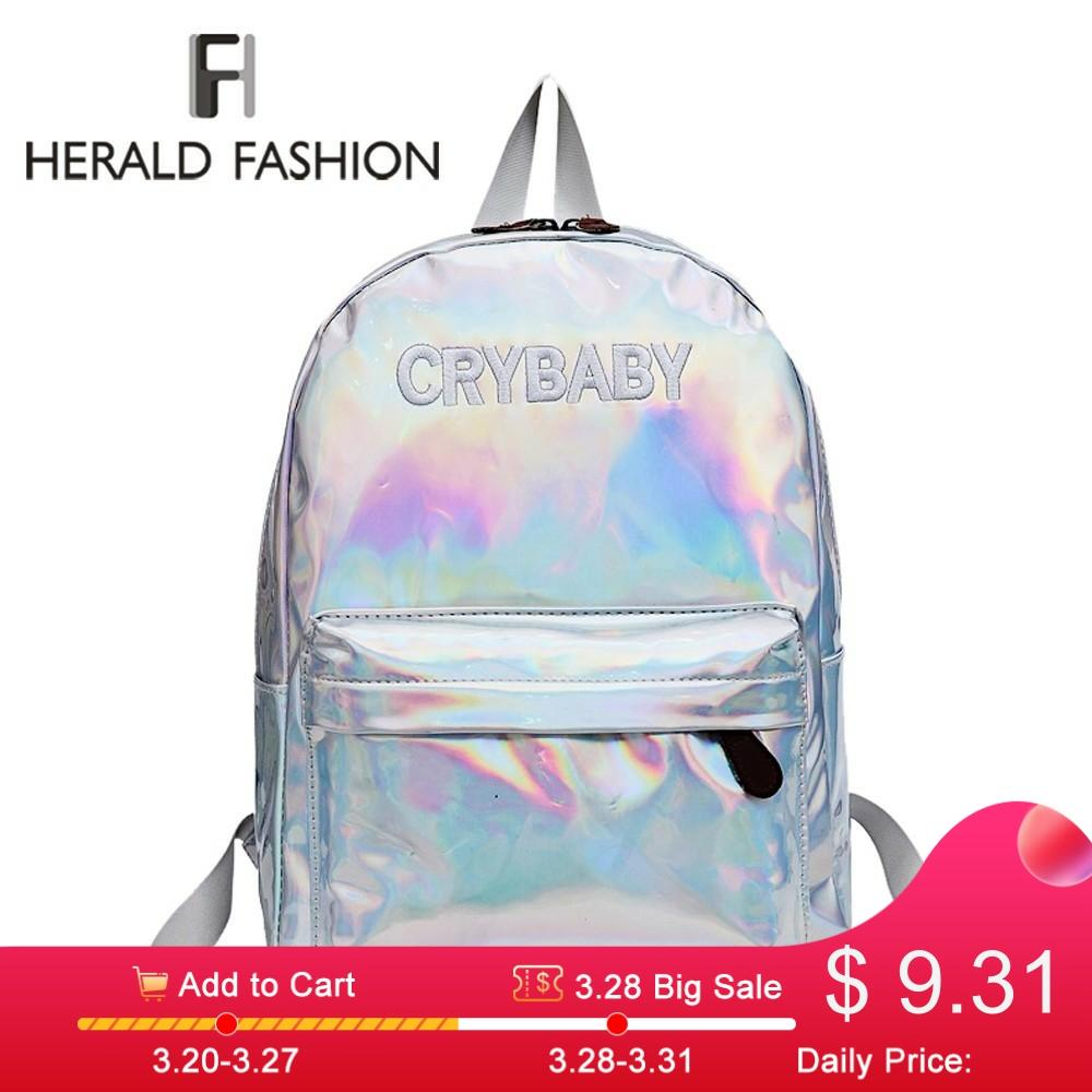 Herald Fashion Women Hologram Laser Backpack Hip-hop Style Embroidery Letters Crybaby School Bags For Girls Leather Student Bag