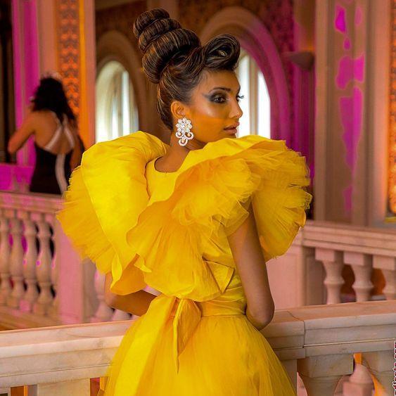 Puffy Prom Dresses vestido de fiesta Photography Shoot Ruffle Yellow Formal Prom Dresses Tulle Detachable Skirt Robe De Soiree 3