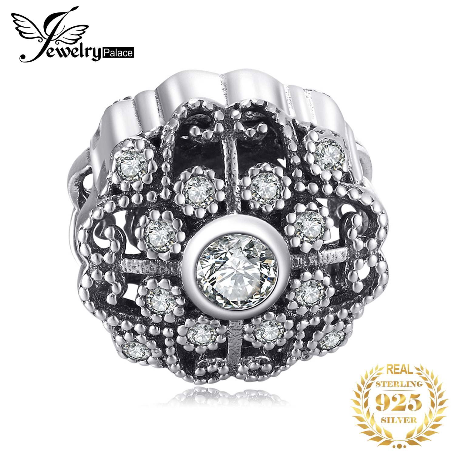 Jewelrypalace 925 Sterling Silver Vintage Auspicious Cubic Zirconia Beads Charms Fit Bracelets Gifts For Women Fashion Jewelry