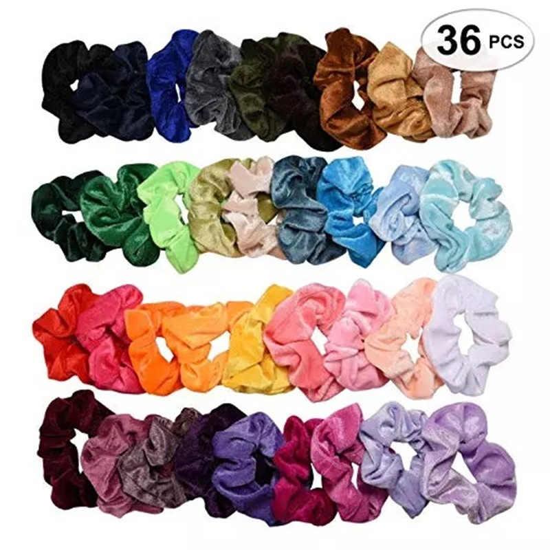 Elástico de veludo para cabelo, pacote para mulheres estilo coreano, com elásticos, para inverno, srunchie 36 pçs/lote