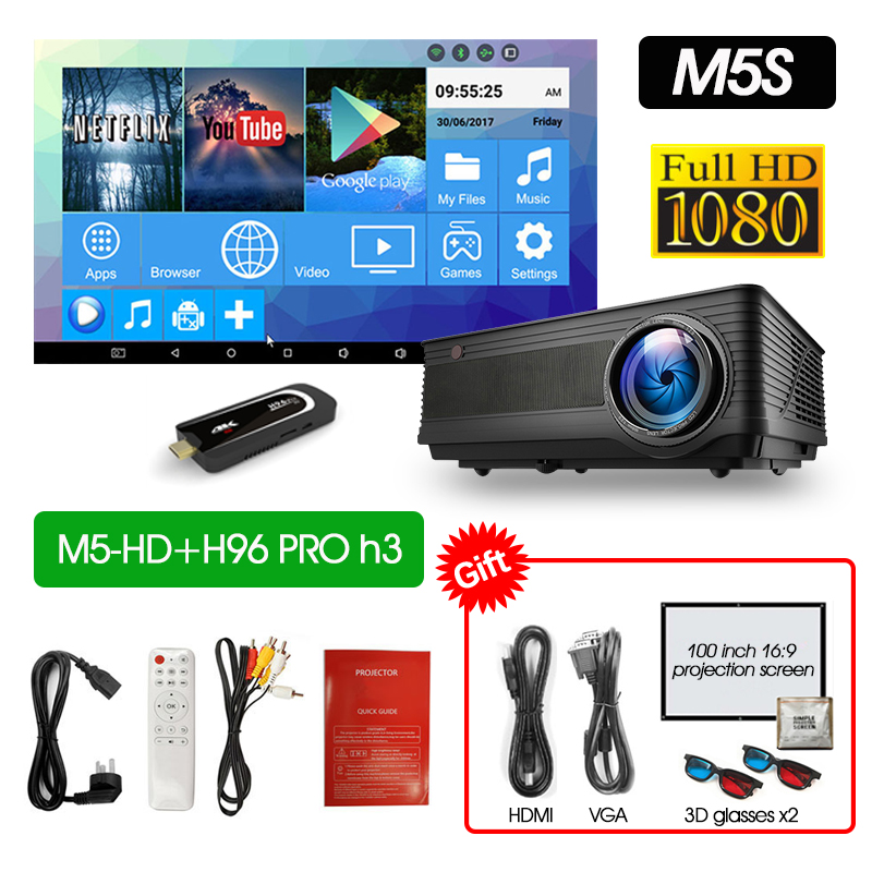 ALSTON M5 M5W Full HD 1080P проектор 4K 6500 люмен кинопроектор проектор Android WiFi Bluetooth hdmi VGA AV USB с подарком - Цвет: M5HD H96PROH3