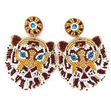 Boho подвески серьги большие тигр ожерелье с подвеской в виде головы висячие серьги ручной работы в богемном стиле, Украшенные бусинами и сер...