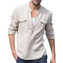 Рубашка мужская с длинными рукавами, шифоновая стильная удобная курортная блузка из хлопка и льна с карманами, лето