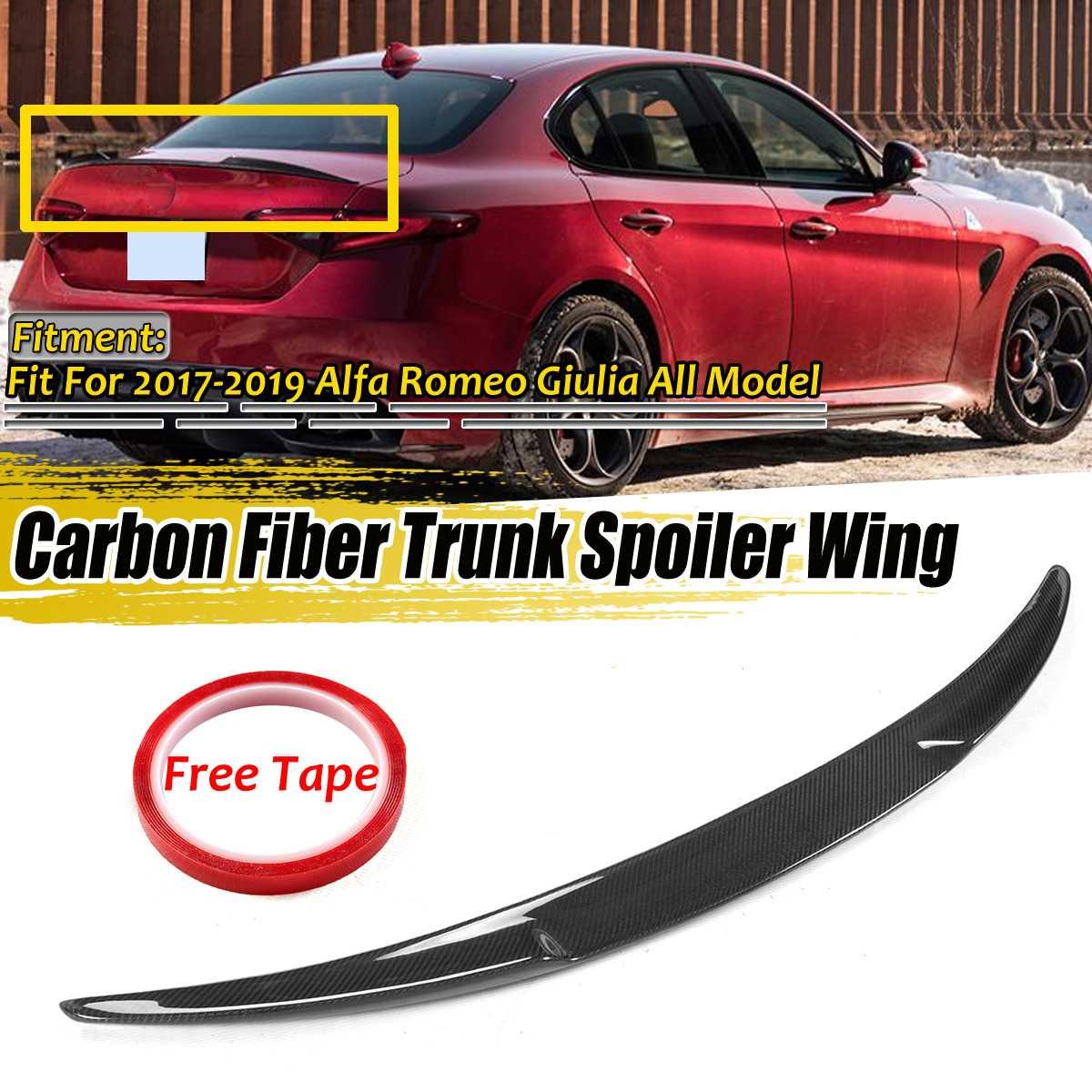 Fibra de carbono Real maletero trasero de coche labio Spoiler labio de ala para Alfa para Romeo Guilia 2017-2019 quatrifoglio estilo Spoiler de carreras