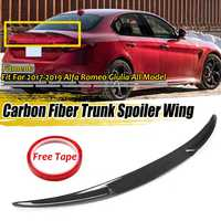 Real Carbon Fiber Car Rear Trunk Boot Lip Spoiler Wing Lip For Alfa For Romeo Giulia 2017-2019 Quadrifoglio Style Racing Spoiler