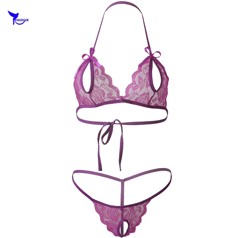 <font><b>Open</b></font> Bra Crotch <font><b>Sexy</b></font> <font><b>Extreme</b></font> G String <font><b>Micro</b></font> <font><b>Bikini</b></font> Set Women Transparent Lace Sunbath Costumes Beach Wear Swimwear Bathing Suit image
