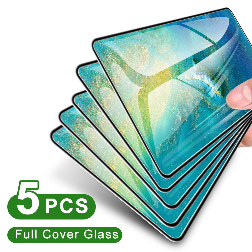 5PCS Full Cover Tempered Glass For Huawei P10 P20 P30 Lite Pro Screen Protector For Mate 10 20 30 Lite Pro Protective Glass
