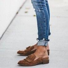 SHUJIN Women Flats 2019 Retro Tassel Spring Shoes