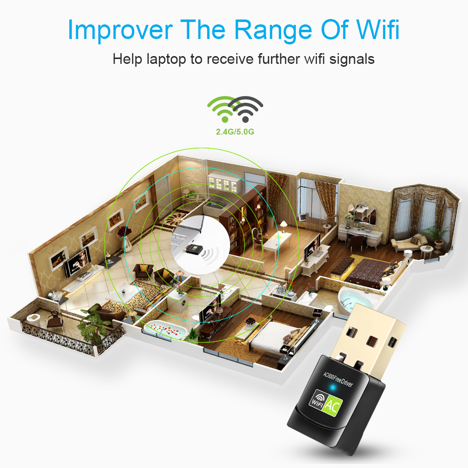 Wi-Fi Adapter Lan Wifi Dongle AC Wifi Receiver