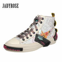 Jady Rose Colorful Retro Women Vulcanized Shoes Flat Canvas Shoes Woman Espadrilles Trainers Casual Lace up Sneakers High Tops