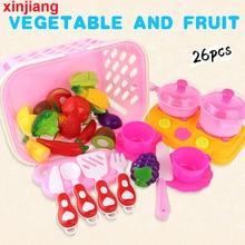 Fruits-Set Basket Pink Cooker Pretend-Play-Toy Cutting Vegetable Kitchen Girls Kids