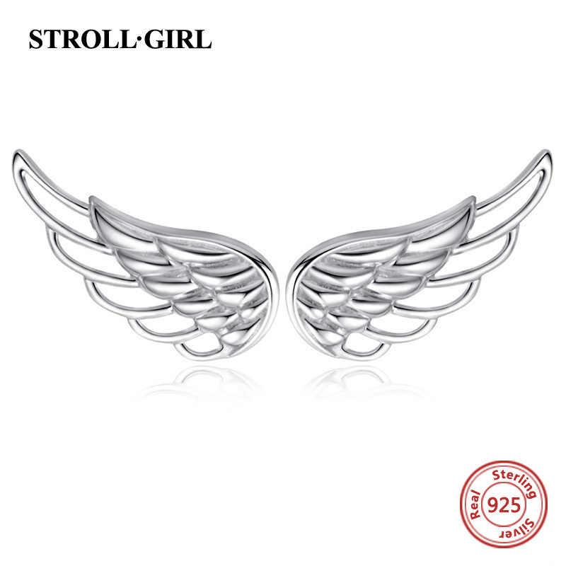 Strollgirl ของแท้ 925 เงินสเตอร์ลิงต่างหู 2019 Hollow Feather นางฟ้าปีกสตั๊ดต่างหูแฟชั่นเครื่องประดับของขวัญ