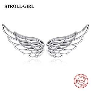 Image 3 - Strollgirl حقيقية 925 فضة أقراط 2020 الجوف ريشة أجنحة الجنيات للأطفال وأقراط للنساء هدايا مجوهرات الأزياء